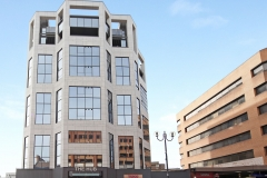 19 The Hub building exterior sky Harrow serviced apartments