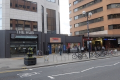 20 The Hub building exterior with Tesco, Costa and Harrow-on-the-Hill station Harrow serviced apartments