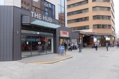 22 The Hub building exterior sideview with Harrow-on-the-Hill station Harrow serviced apartments